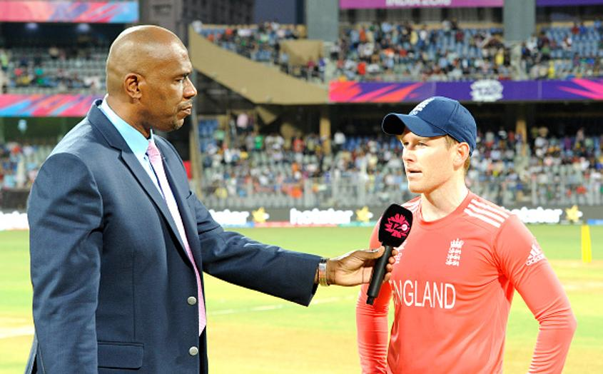 Ian Bishop (left) with England limited-overs captain Eoin Morgan