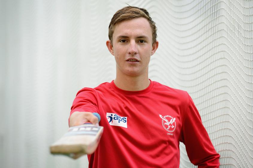 Namibia captain Lohan Louwrens poses at an indoor net session