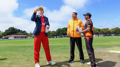 Papua New Guinea and Zimbabwe played a 20-over game due to rain at Lincoln Green in Christchurch