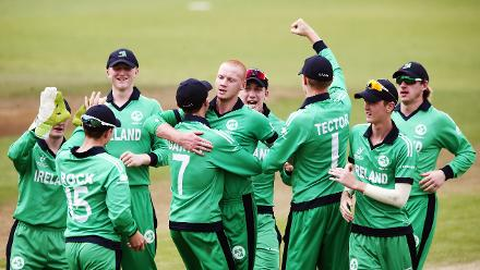 Ireland celebrate the wicket of Dhananjaya Lakshan