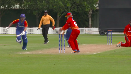 Namibia's Mollendorf hesitates and is run out for 17 against Zimbabwe