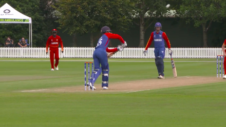 Namibia's Linde is caught on the second ball of the match against Zimbabwe