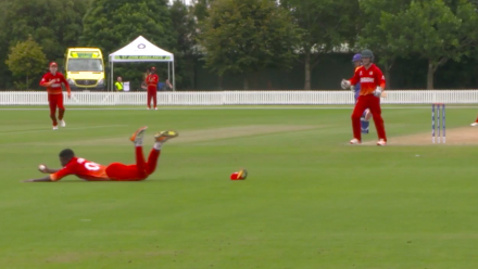 Petrus Burger flipped for 8 with a great diving catch from Robert Chimhinya