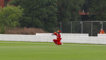 Nicol Loftie-Eaton is caught on the boundary against Zimbabwe