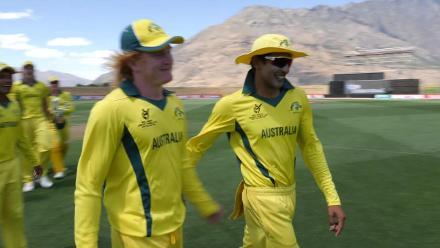 Australia's winning moment against England in the U19CWC Super League quarter-finals