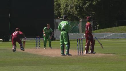 Windies Stewart gets his 50 and is then run out