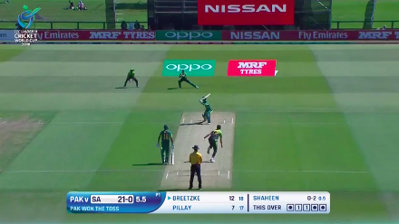 Breetzke is caught behind for 12 off the bowling of Shaheen Afridi