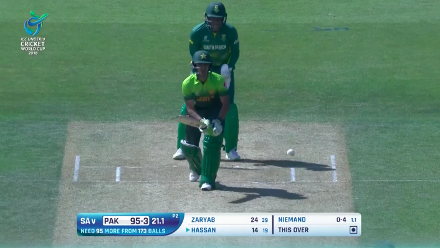 Hassan Khan is caught and bowled by Niemand