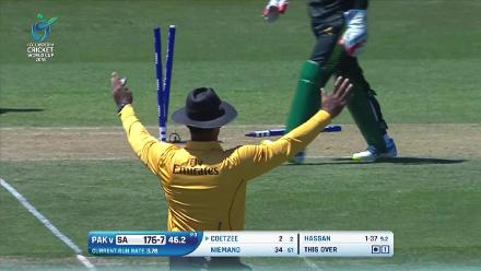 Gerald Coetzee is ran out by Suleman Shafqat for 3