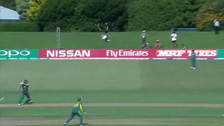 Saad Khan is dismissed after a slow 26 against South Africa