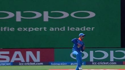 Hasan Mahmud caught well in the slips by Abhishek Sharma from Kamlesh Nagarkoti
