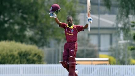 Alick Athanaze of the West Indies celebrates his century