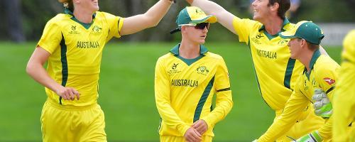 Australia U19 celebrate their win over Afghanistan in the semi-final