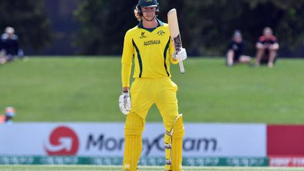 Jack Edwards of Australia celebrates his half century