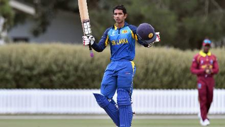 Hasitha Boyagoda of Sri Lanka celebrates his century