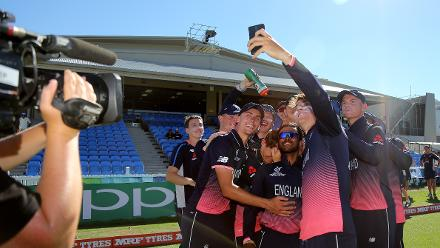 The English team pose for a team selfie