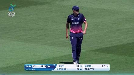 Kaylum Boshier caught for 31 at mid-off against England