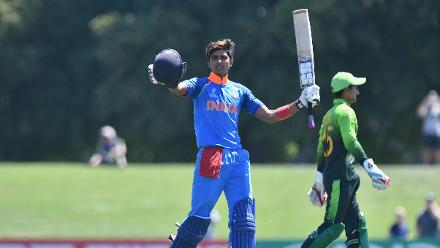 Shubman Gill of India celebrates his century