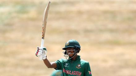 Shakil Hossain of Bangladesh celebrates his half century
