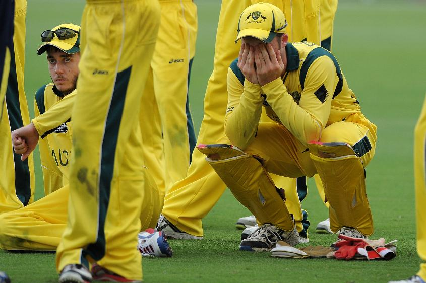 Kurtis Patterson (L) and James Peirson look dejected after 2012 U19 CWC Final loss