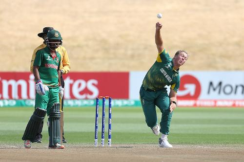 Fraser Jones of South Africa bowling