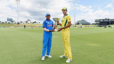 Captains Prithvi Shaw of India and Jason Sangha of Australia pose with the trophy