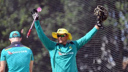 Head Coach Ryan Harris of Australia reacts during an Australian training session