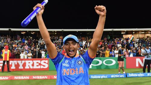 Captain Prithvi Shaw Of India Celebrates