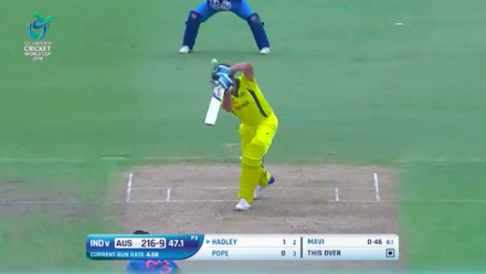 Hadley is the last to fall, caught behind to end Australia's innings on 216
