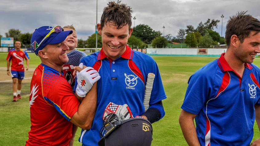 The innings of Gerhard Erasmus (63*) led Namibia to a narrow two-wicket victory with just two balls remaining