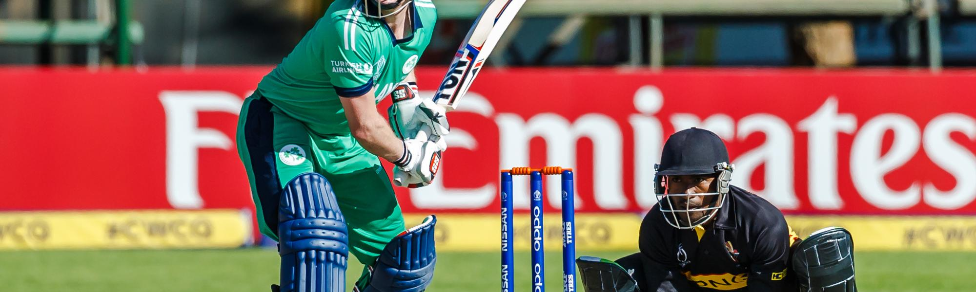 Ireland captain William Porterfield in action during a Group A World Cup Qualifier cricket match between Papua New Guinea and Ireland at Harare Sports Club, March 6 2018 (©ICC).