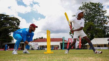 Windies players take part in an ICC Cricket For Good session on the sidelines of the ICC Cricket World Cup Qualifier in Zimbabwe.