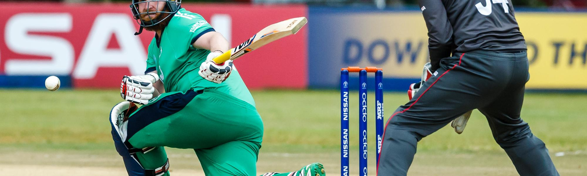 Irish batsman Paul Stirling sweeps the ball during a Group A World Cup Qualifier cricket match between United Arab Emirates and Ireland at Old Hararians Sports Club in Harare March 12 2018 (©ICC).