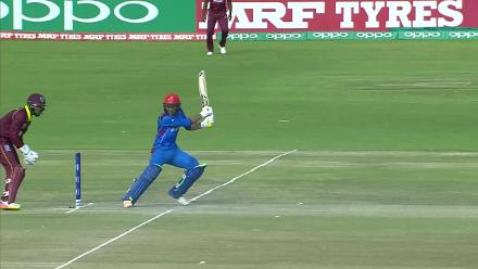 Rahmat Shah's innings against West Indies comes to an end on 68