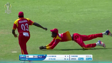 CWCQ POTD - Muzarabani's diving catch to dismiss O'Brien
