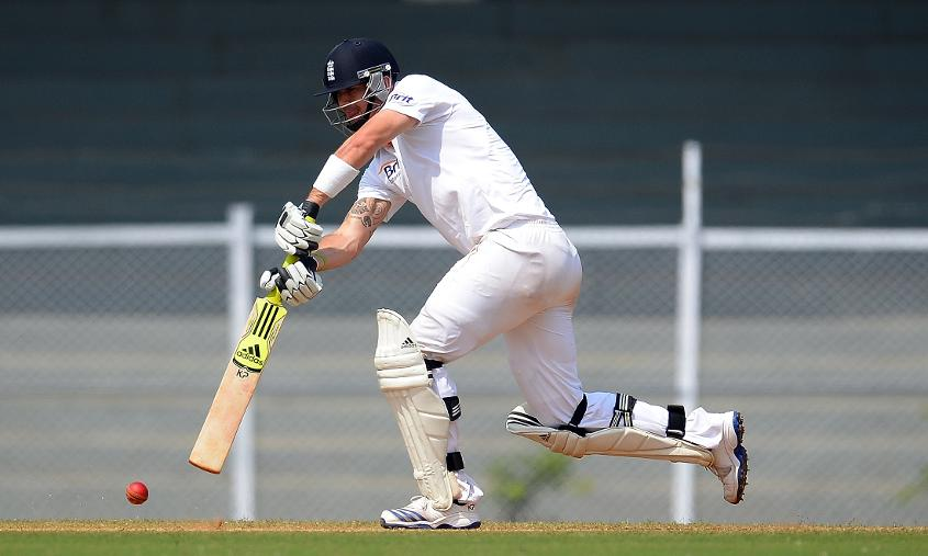 Coming down the track against India at Mumbai in 2012