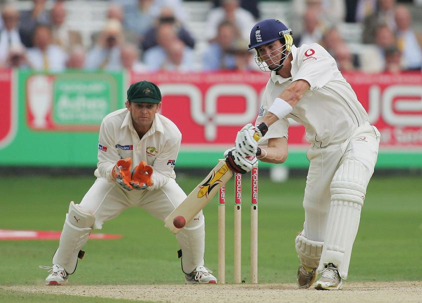 Kevin Pietersen bats during the second of his two half-centuries on debut