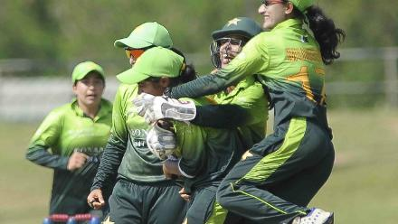 The Pakistan fielders celebrate the fall of a Sri Lankan wicket