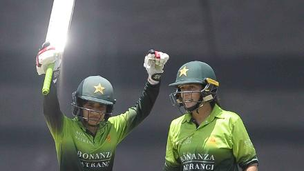 Javeria Khan celebrates after reaching her second one-day international century