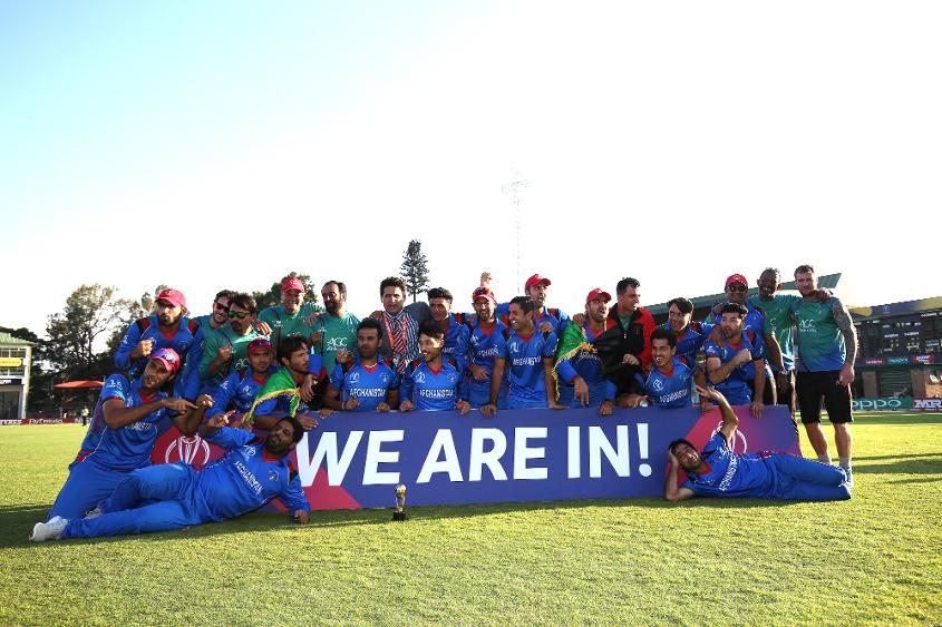 The winning Afghanistan team after The ICC Cricket World Cup Qualifier between Ireland and Afghanistan at The Harare Sports Club on March 23, 2018 in Harare, Zimbabwe (©ICC).