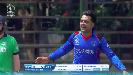 Andrew Balbirnie caught behind off Rashid Khan for 11