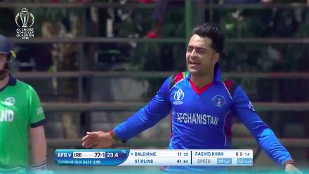 Andrew Balbirnie caught behind off Rashid Khan for 11
