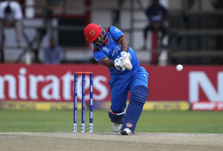 Mohammad Shahzad of Afghanistan hits out during The ICC Cricket World Cup Qualifier between Ireland and Afghanistan at The Harare Sports Club on March 23, 2018 in Harare, Zimbabwe (©ICC).