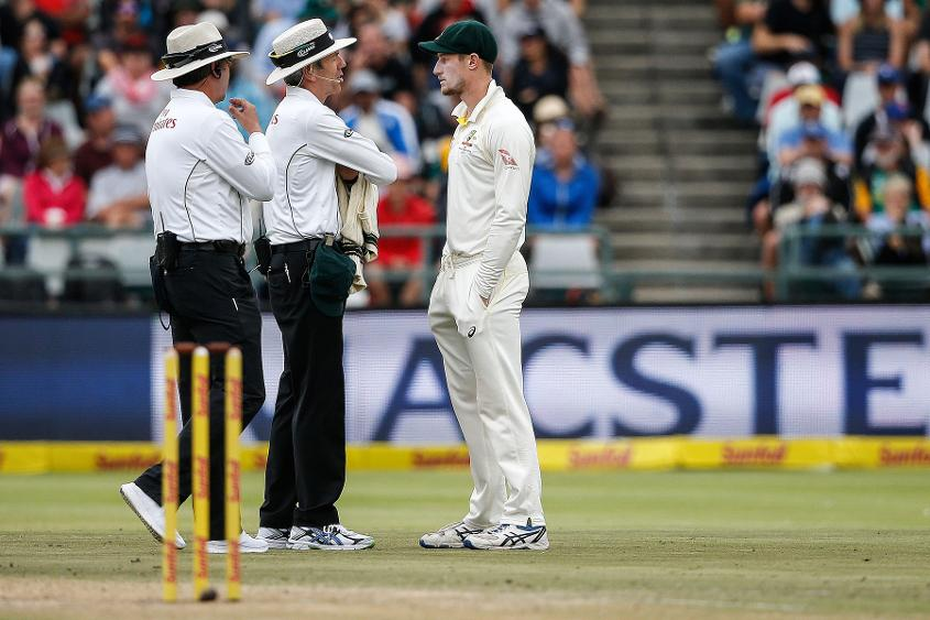 Cameron Bancroft was questioned by the umpires