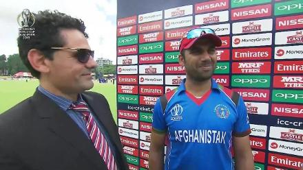 Dawlat Zadran talks after West Indies are dismissed for 204 in the CWCQ final