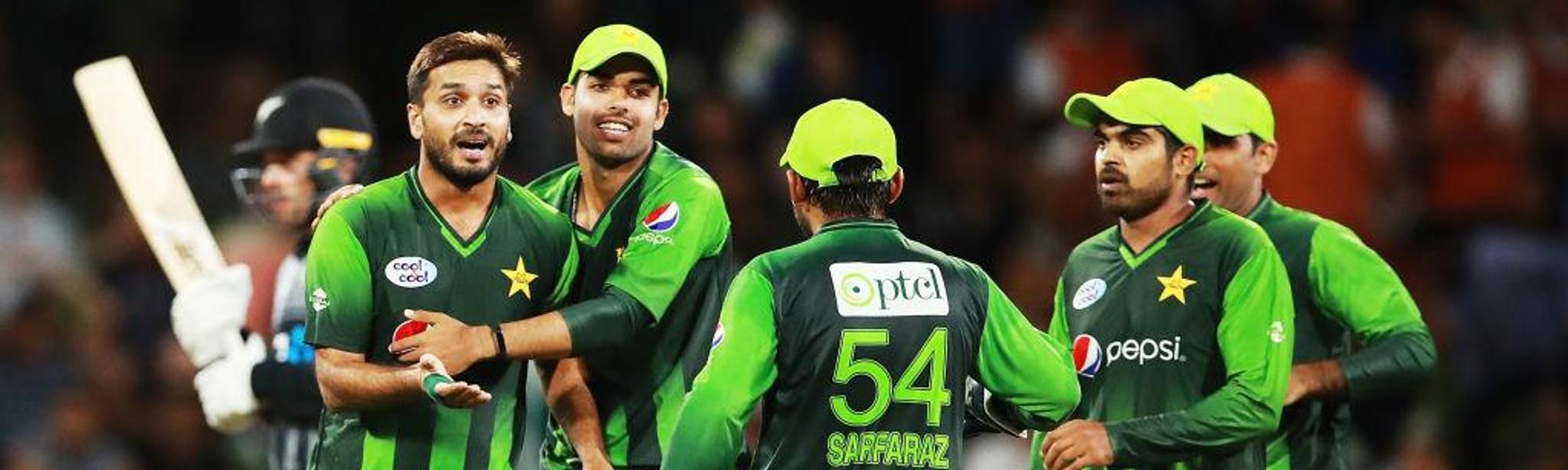 Rumman Raees celebrates after dismissing Tom Bruce during game three of the T20I match between New Zealand and Pakistan, 28 January, 2018.