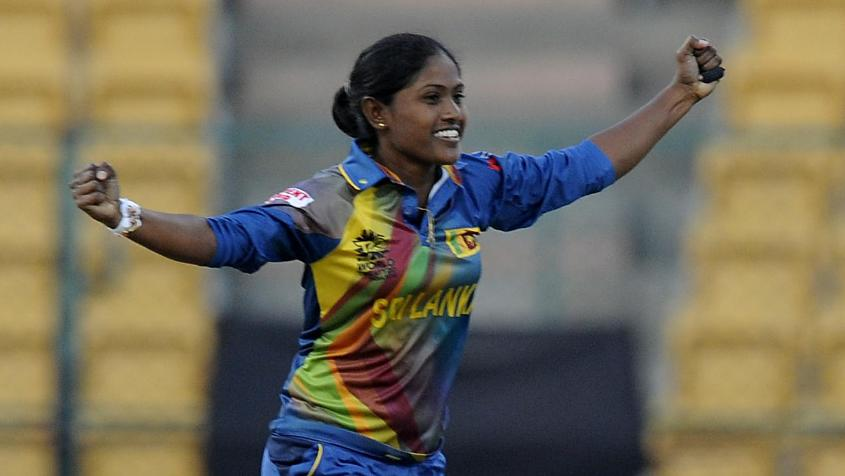 Sugandika Kumari was the best of the Sri Lankan bowlers, returning 2/20