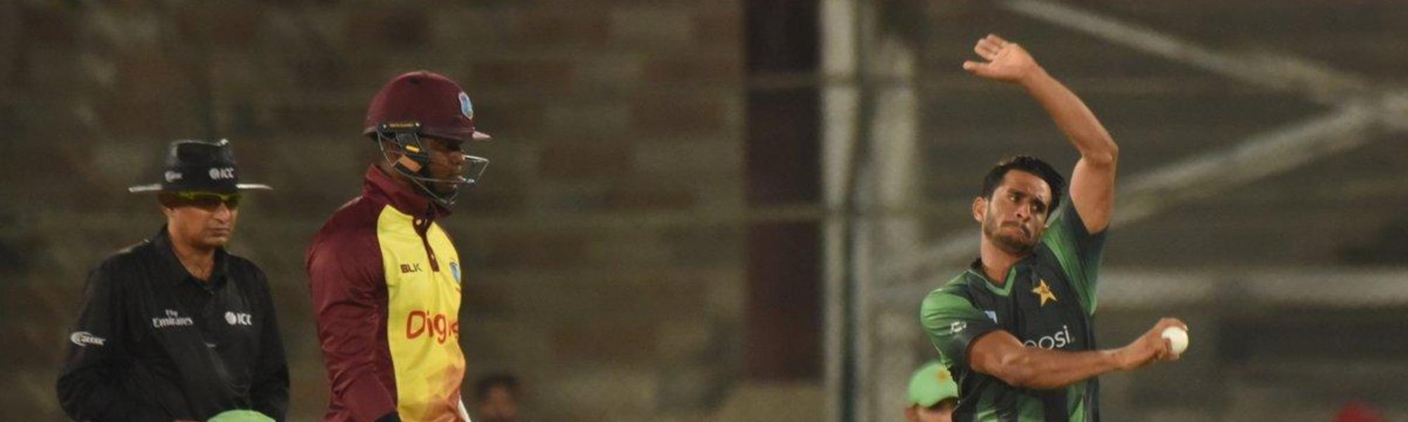 Hasan Ali bowling against West Indies in Karachi