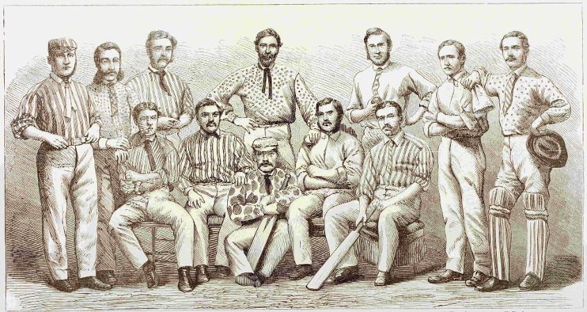 An illustration of the All-England cricket team of 1868 - James Lillywhite is seated second from right