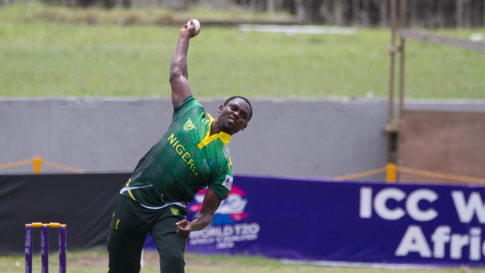 Seye Olympio bowling for Nigeria
